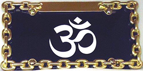 1  HINDU OM  on a Black Metal License Plate  And a Gold HALF Chain Holder27B27B15B5025B51