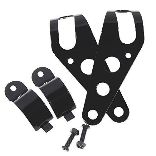 35mm-43mm Steel Fork Ear Headlight Side Mount Clamp Brackets for Motorbike Chopper Bobber Café Racer Black