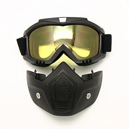 Motorcycle Goggles Mask Detachable Harley Style Protect Padding Helmet Sunglasses Road Riding UV Motorbike Glasses Night Vision Lens