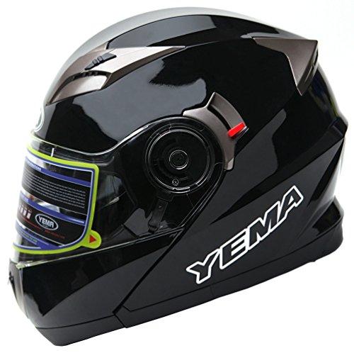 Motorcycle Modular Full Face Helmet DOT Approved - YEMA YM-925 Motorbike Moped Street Bike Racing Crash Helmet with Sun Visor for Adult Men and Women - Black Large