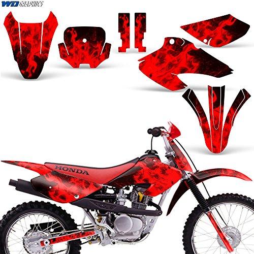 Honda XR80 XR100 2001-2003 Decal Graphics for Dirt Bike MX Sticker Motocross Deco XR 80 XR 100 FLAMES RED