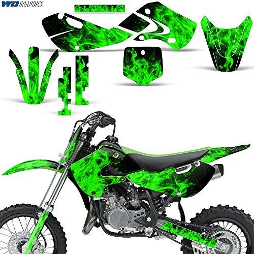 Kawasaki KLX110 KX65 2002-2009 Decal Graphics Kit for Dirt Bike MX Motocross FLAMES GREEN