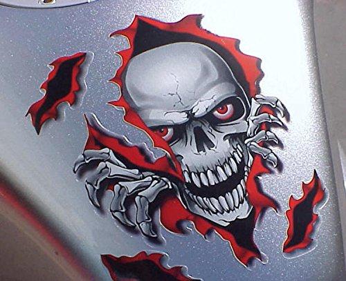 i5 Red Skull Decal Graphic for Honda Kawasaki Suzuki Yamaha Harley