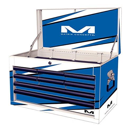 Matrix Concepts M80 803 M80 Race Series WhiteBlue 8 Drawer Tool Box with Bolt Graphic Kit