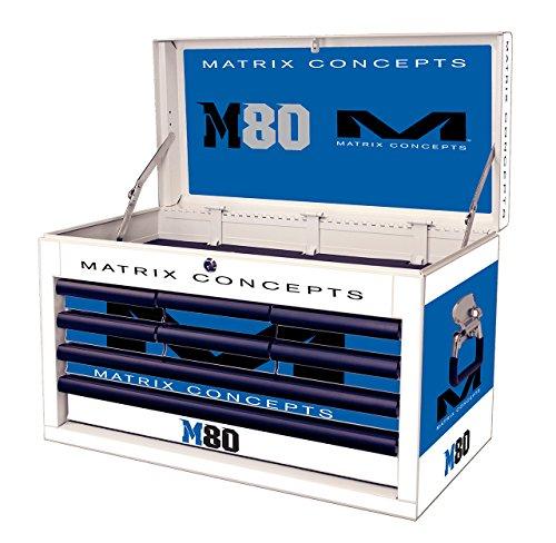Matrix Concepts M80 813 M80 Race Series WhiteBlue 8 Drawer Tool Box with Clash Graphic Kit