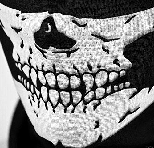 Motorcycle face mask seamless multi function skull tube tubular half face mask headband headwear black