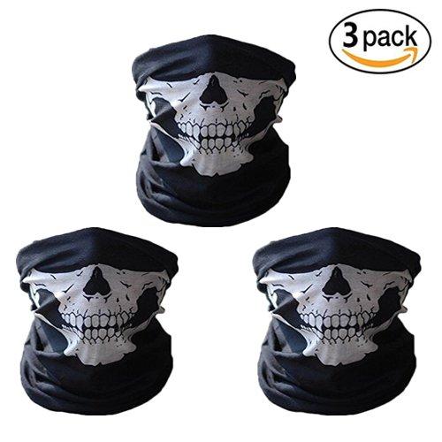 ss shovan SH5005 Skull Mask Bandana Headwear Scary Dust-Proof Windproof Motorcycle Half Face Mask3 Pack