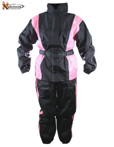 Xelement Womens 2 Piece Black And Pink Motorcycle Rain Suit - Medium