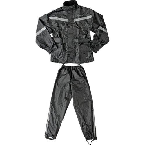 Fly Racing Standard Adult 2-piece Street Motorcycle Rain Suits - Black / Medium