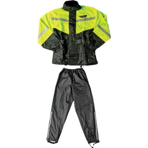 Fly Racing Standard Adult 2-piece Street Motorcycle Rain Suits - Black/hi-viz Yellow / X-large