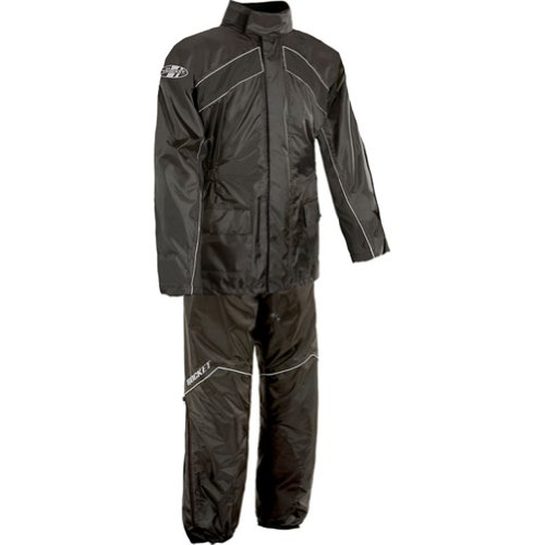 Joe Rocket Rs-2 Men's 2-piece Street Racing Motorcycle Rain Suits - Black/black / Large