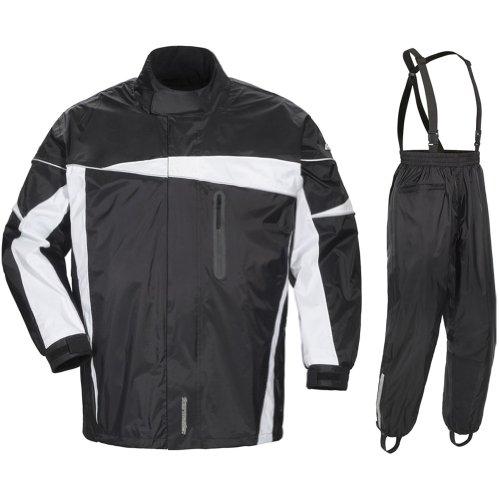Tour Master Defender 2.0 Men's 2-piece Street Bike Racing Motorcycle Rain Suit - Black/black / 2x-large