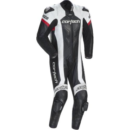 Cortech Adrenaline Men's 1-piece Leather Sports Bike Racing Motorcycle Race Suit - Black/white / X-large