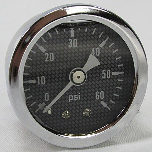 Marshall 60 psi Oil Pressure Gauge - Shock Proof and Liquid Filled - 18 NPT Fitting - Carbon Fiber Style Gauge Face - Motorcycle Harley Bobber Chopper Cafe Racer