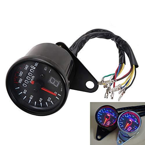 Motorcycle Cafe Racer Speedometer Odometer Tachometer LED Gauge 0-160kmh For Yamaha Suzuki Honda Kawasaki Harley Cruiser Chopper - Black