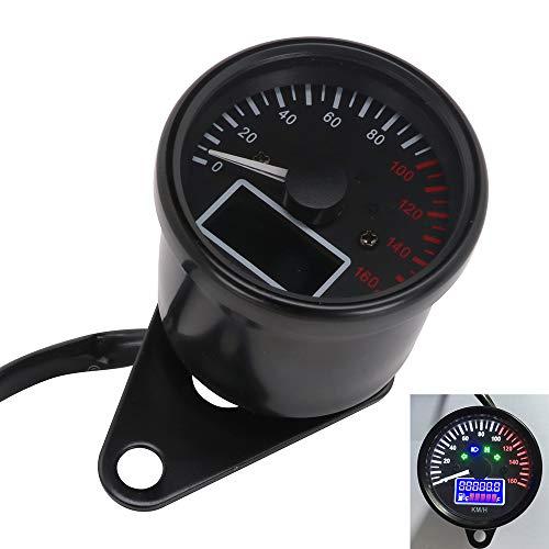 Universal Motorcycle Digital Gauge Speedometer Tachometer Odometer LCD Display Oil Level Meter 160KMH Instrument Cluster 12V - Black