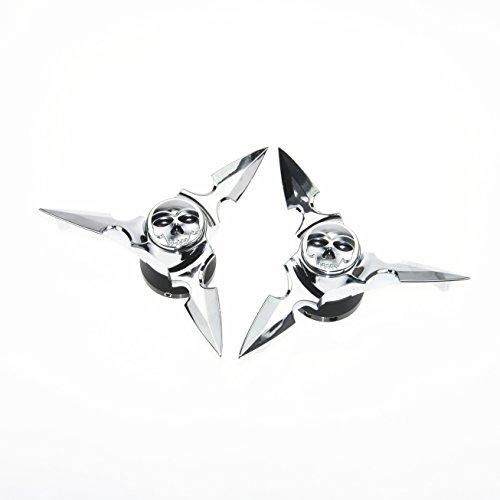 Chrome Skull Spun Blade Spinning Front Axle Caps Cover For Harley Sportster Dynas Softail V-Rod Touring Custom