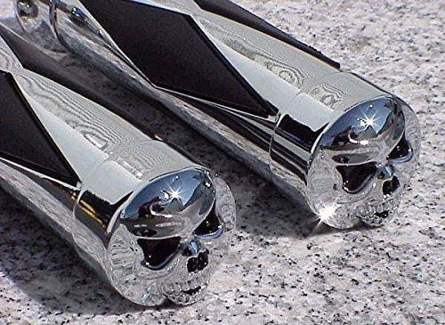i5 Chrome Skull Hand Grips for Honda Kawasaki Suzuki Yamaha Cruisers
