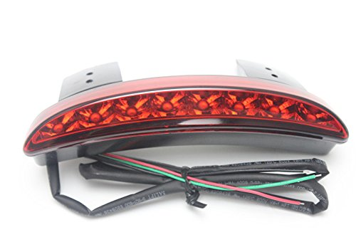 E-Bro Motorcycle 8 LED Chopped Fender Edge Stop Running Brake Rear Tail Light for Harley Sportster XL 883N 1200N XL1200V XL1200X Red Lens