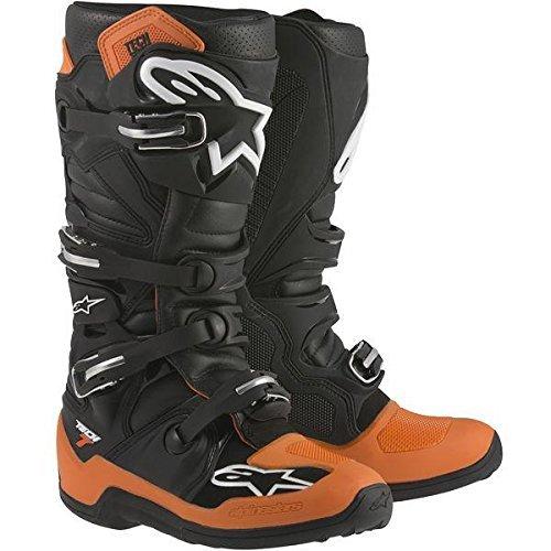 Alpinestars Adult Mx Tech 7 Motocross Boots Black Orange White Size 10