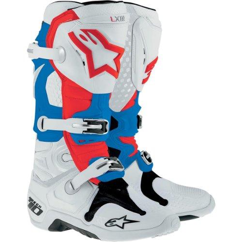 Alpinestars Tech 10 Boots  Primary Color White Size 9 Distinct Name Patriot Gender MensUnisex 20100142739