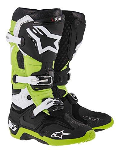 Alpinestars Tech 10 Mens MX Motorcycle Boots - BlackGreen  Size 9