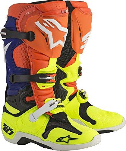 Alpinestars Tech 10 Motocross Off-Road Motorcycle Boots OrangeBlueWhite Men Size 11