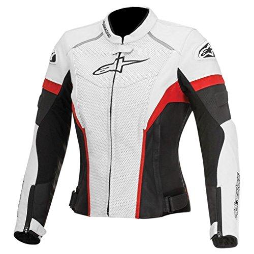 Alpinestars Stella GP Plus R Womens Perforated Leather Riding JacketWhiteBlackRed 48