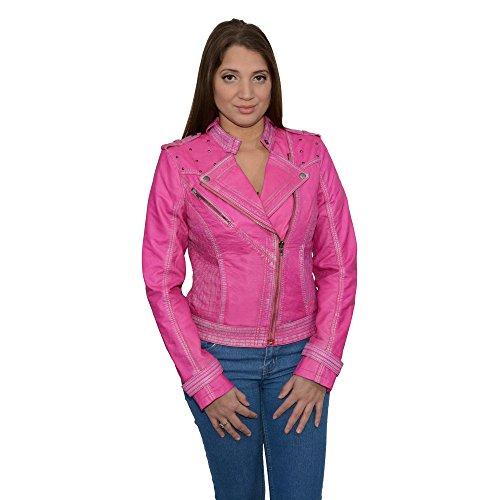 Milwaukee Leather Womens Sheepskin Asymmetrical Moto Jacket With Studding Pink X- Large 1 Pack