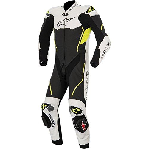 Alpinestars Atem Mens 1-Piece Street Motorcycle Race Suits - BlackWhiteYellow  58