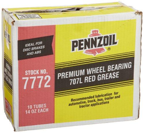 Pennzoil (7772-10pk) 707l Premium Wheel Bearing Red Grease Tube - 14 Oz., (pack Of 10)