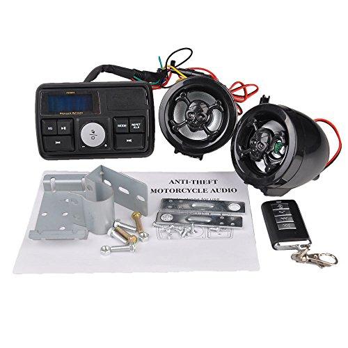 12v Lcd Motorcycle Audio Fm Radio Mp3 Anti-theft Alarm Handlebar Stereo Speaker