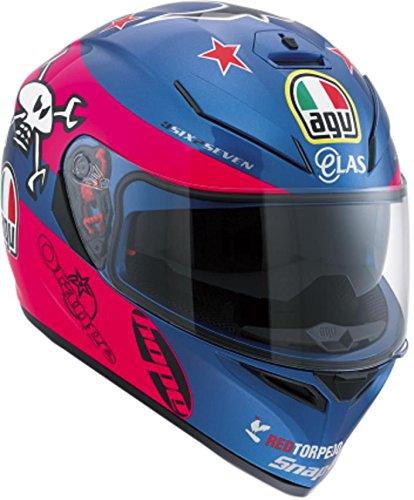 AGV K3 SV Guy Martin Full Face Helmet BluePinkWhite Size LG DOT