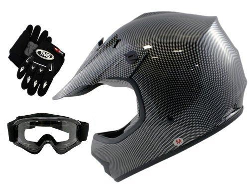 TMS Youth Kids Carbon Fiber Graphics Motorcross Motocross Off Road ATV Helmet w Goggles Gloves Medium