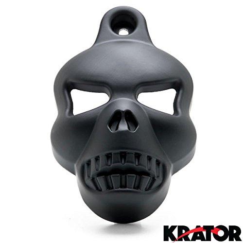 Krator® Motorcycle Black Skull Horn Cover For Harley Davidson Cowbell Horns (1992-2014) Black Skull Head Horn