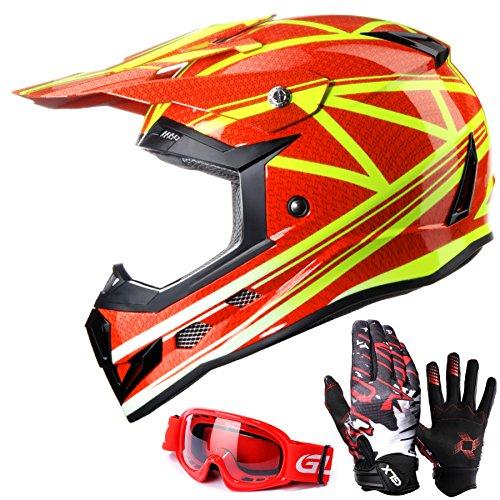 GLX Youth Kids Dirt Bike ATV Motocross Helmet Red DOTGlovesGoggles L