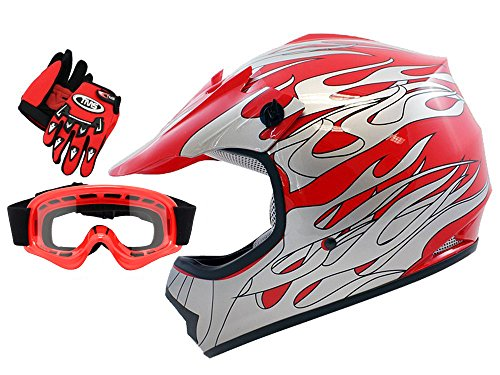 TMS Youth Kids Red Flame Dirt Bike ATV Motocross Helmet with Goggles and Gloves Large