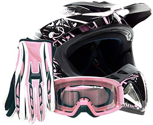 Adult Offroad Helmet Goggles Gloves Gear Combo Dot Motocross Atv Dirt Bike Mx Pink Splatter ( Large )