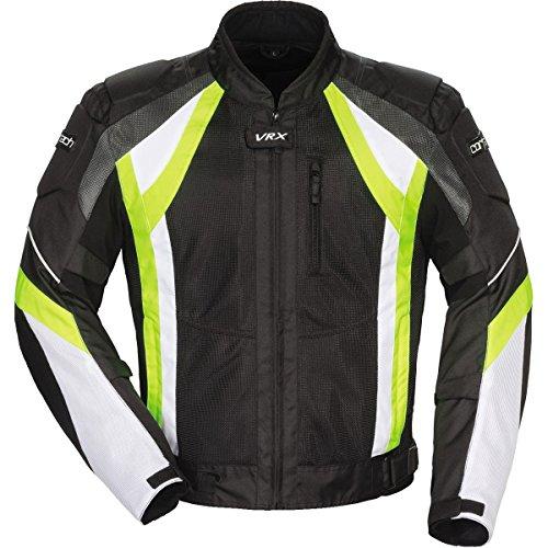Cortech Vrx Air Adult Vented Textile Road Race Motorcycle Jacket - Black/hi Viz/white / Medium