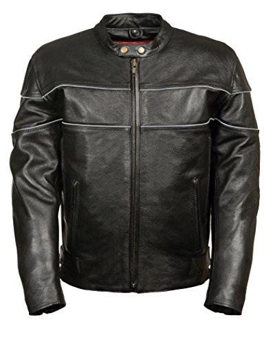 Milwaukee Men's 1.2 Mm Premium Leather Vented Riding Jacket (black, X-large)