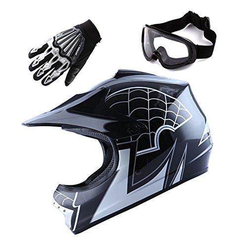 Youth Motocross Helmet MX BMX Bike Spider Black Helmet Size Large  Goggle  Skeleton Glove Size Small