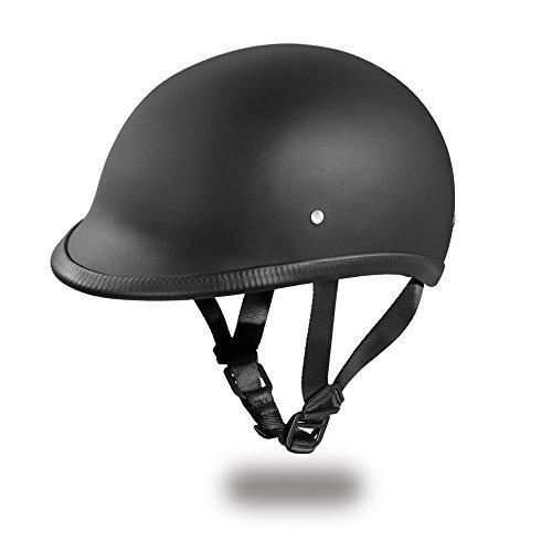 Daytona Helmets Hawk Polo Style Half Shell Helmet Dull Black Large with Head Wrap and Draw String Bag