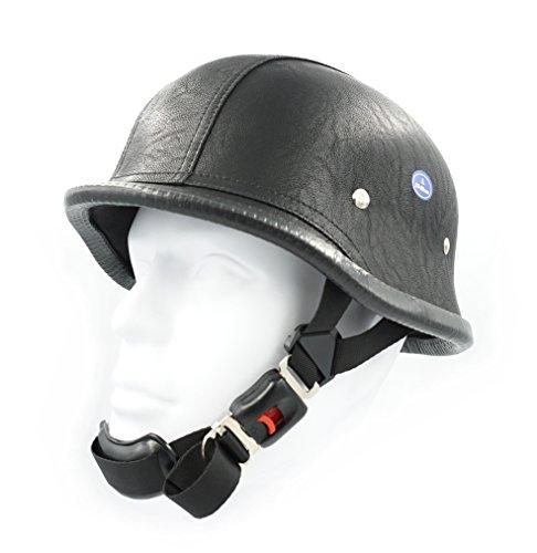 Hot Rides Classic Chopper Biker Motorcycle Helmet Novelty German Leather PU Black Large