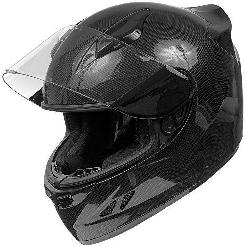 KOI DOT Motorcycle Helmet Full Face KOI Gloss Carbon Fiber w Clear Visor - Large