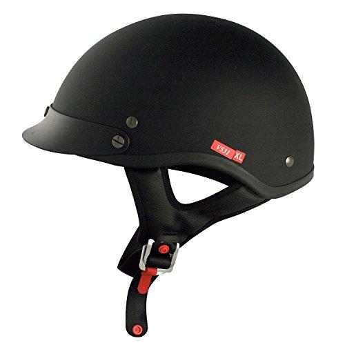 VCAN V531 Solid Flat Black Large Half Helmet