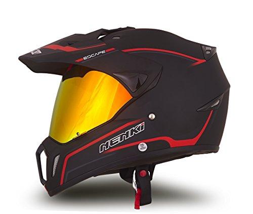 NENKI Helmets NK-310 Full Face Motocross Motorcycle Helmets Dot Approved With Iridium Red Visor Attached Clear Visor XL Matt Black Red
