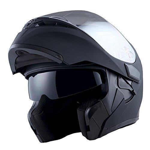 1Storm Motorcycle Modular Full Face Helmet Flip up Dual Visor Sun Shield HB89 Matt Black