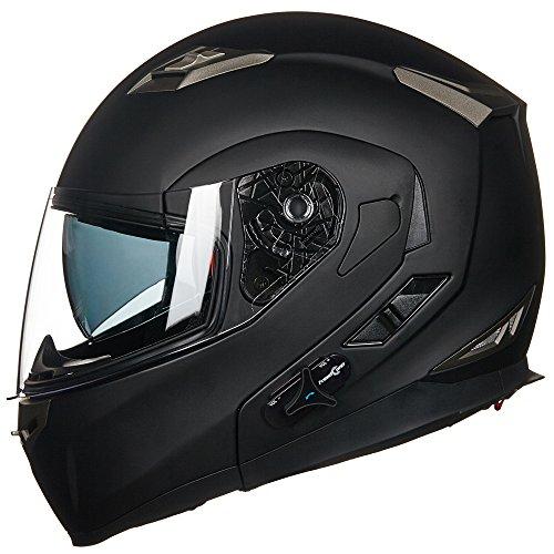ILM Bluetooth Integrated Modular Flip up Full Face Motorcycle Helmet Sun Shield Mp3 Intercom L MATTE BLACK