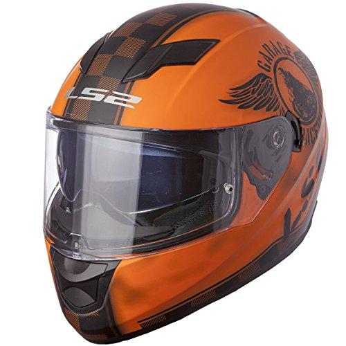 LS2 Helmets Stream Fan Full Face Motorcycle Helmet with Sunshield Matte Orange X-Large