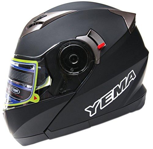 Motorcycle Modular Full Face Helmet DOT Approved - YEMA YM-925 Motorbike Moped Street Bike Racing Crash Helmet with Sun Visor for Adult Men and Women - Matte Black XXL
